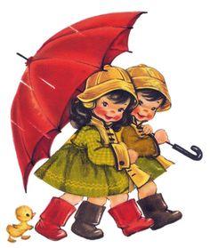 Vintage Pair with Umbrella