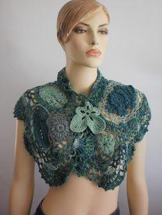 shawl with free form crochet