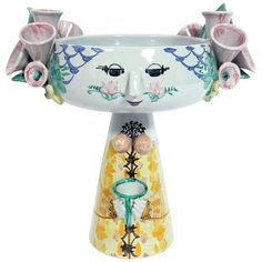 View this item and discover similar for sale at - Large scale figural centerpiece, made by Bjorn Wiinblad, Denmark, circa Hand signed and dated underneath within the glaze. Ceramic Candle Holders, Ceramic Vase, Decorative Objects, Decorative Bowls, Ceramic Figures, Modern Ceramics, Scandinavian Modern, Pottery Vase, Vibrant Colors