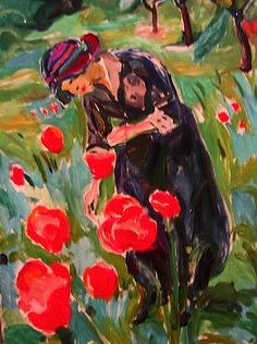 Edvard Munch. Woman with poppies. It is very flat but still has contrast to be able to see different figures