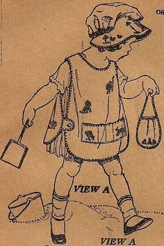 Little Girls Vintage 1920s Apron Pattern 3706 With Sun Bonnet from sentimental baby - Picmia