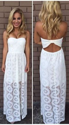 Strapless white long maxi summer dress