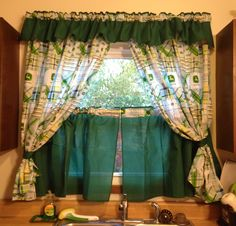 My NEW John Deere Kitchen Curtains! Love them! ;D