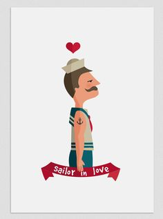 Illustration The sailor in love by Tutticonfetti on Etsy