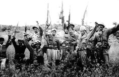 Korean War 1st Cavalry Division with South Korean Guerillas on the 38th Parallel, Korea, 1950.