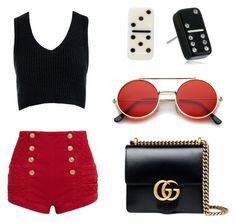 Date Night 2 by adellegoldenberg on Polyvore featuring polyvore, fashion, style, Sans Souci, Pierre Balmain, Gucci, Marc Jacobs, ZeroUV and clothing
