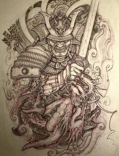 Japanese Mask Tattoo, Japanese Dragon Tattoos, Japanese Tattoo Designs, Japanese Sleeve Tattoos, Samurai Warrior Tattoo, Warrior Tattoos, Full Sleeve Tattoo Design, Tribal Sleeve Tattoos, 3d Dragon Tattoo