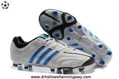 2014 Adidas Adipure 11Pro TRX FG Running White-Bright Blue-Black 2014 Soccer Cleats