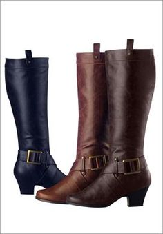 Wide Calf Knee-High Boots with Side Buckles   Plus Size   Roamans