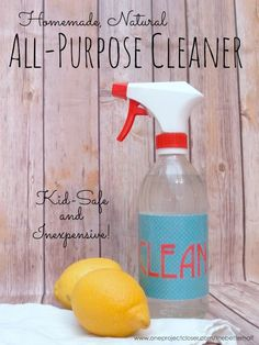 Homemade All Purpose Cleaner with Essential Oils & Vinegar, safe for kids and inexpensive to make - from One Project Closer