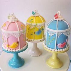 Birdcage cakes for christening