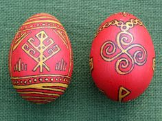 The Runic Tree (symbol for Heathenry) -- based on woven world tree designs & Old English symbol  for Thor ( the Fylfot)  Eostre Eggs by Thorskegga.deviantart