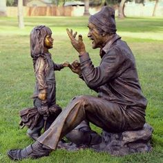 """Grandpa Storyteller"" is one of several life-size bronze sculptures by Victor Issa which will be on display in the McClelland Art Gallery and on Union's campus November 7-27"