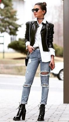 Women's Black Leather Bomber Jacket, White Dress Shirt, Grey Ripped Skinny Jeans, Black Leather Lace-up Ankle Boots