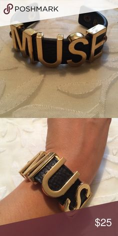 """BCBGeneration """"Muse"""" Cuff Open to all offers! In wonderful condition. Previously loved. Spells """"Muse"""". Clasp secures the bracelet for all day wear. Super cute and goes great with any outfit. BCBGeneration Jewelry Bracelets"""