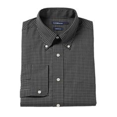 Men's Croft & Barrow® Slim-Fit Button-Down Collar Dress Shirt - Men, Size: 16.5-34/35, Black
