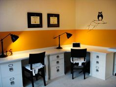 Use filing cabinets for base of desk.  Make a counter top out of laminent.