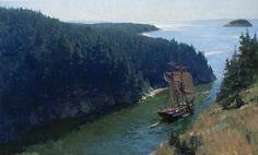 Christopher Blossom (b. 1956) - The U.S. Brig PORPOISE Transiting Deception Pass, June 1841 : museum