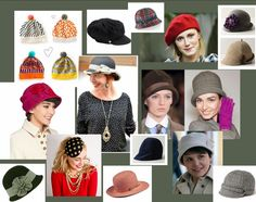 love the pink and red cloche, the red beret (I have one) and the spotted hat at the bottom