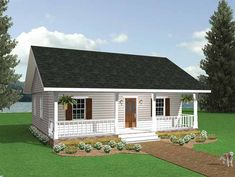 I would extend the laundry room behind the current bathroom and put a half bath in the laundry room. Carport across the back. Would be perfect!!!! No cabinets above the counter between the kitchen and living room. Country House Plan with 864 Square Feet and 2 Bedrooms from Dream Home Source   House Plan Code DHSW18683