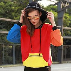 Fashion color block hoodie for girls casual colorful sweatshirts