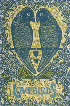 Lovebirds Linocut handprinted original by InkyprintsOriginals, $77.00