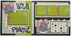This adorable, 2 page set of 12x12 premade scrapbook pages is ready for those pictures of your little peanut!    Details include:    premade, 12x12 2 page set dimensional paper pieced elephants  machine stitched detailing  coordinating ribbon & brads    ***Free US Shipping for a limited time only!!***    Please contact me with any questions and thanks for stopping by