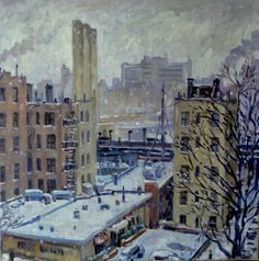 NYC in Snow. Oil on Canvas New York City Realist Landscape
