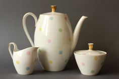 Mid-Century Modern German Coffee Pot Set with Pastel Polkadots!