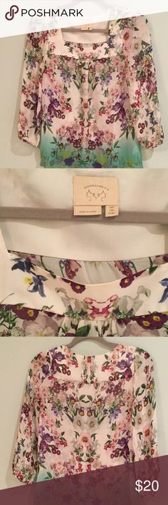 Anthropologie Silk Blouse Beautiful floral print 100% silk blouse by Vanessa Virginia. Good preowned condition. No holes or stains. Love the watercolor like print! Anthropologie Tops Blouses