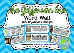 Thomas Jefferson, James Madison, and the War of 1812 Unit - The Jefferson Era Word Wall with Definitions and Images $4.50 at TpT