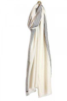 Pañuelo blanco con cenefa gris