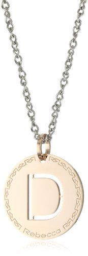 """Rebecca """"Word"""" Rose Gold Over Bronze Letter """"D"""" Necklace REBECCA. $99.00. Long-pendant style necklace with intricate, twisting steel chain Made in IT. Long-pendant style necklace with intricate, twisting steel chain. Made in Italy. 18k rose gold over bronze pendant. Rebecca' logo stamping around medallion"""
