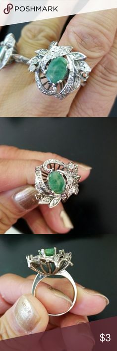 Antique art deco 14k natural diamonds emerald ring Great condition,  about 1.5 ct natural emerald and natural diamonds 14k white gold ring, size around 6.5 - 6.75, hand made, hardly to find anywhere. Big size too, Jewelry Rings