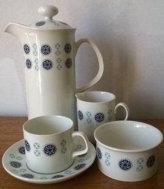 Graphic retro design in blue on this J&G Meakin coffee pot, jug, sugar bowl and cup/saucer, treat yourself! www.whittakergray.co.uk