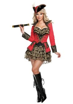 complete your sexy pirate group costume with this ladies elite sexy red pirate costume take over the seas in this sexy elite red pirate costume