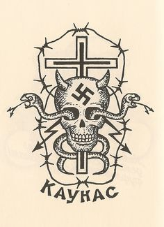 Translation: 'Kaunas'. The tattoo of a criminal boss or 'authority'.
