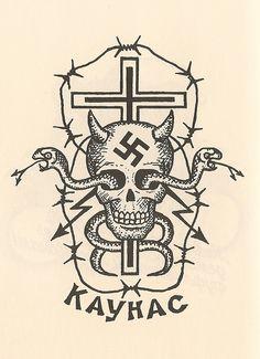 Translation: 'Kaunas'. The tattoo of a criminal boss or 'authority'.