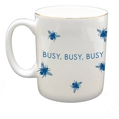Sloane Stationery - Busy Busy Busy Fine Bone China Mug (31 CAD) ❤ liked on Polyvore featuring home, kitchen & dining, drinkware, dishwasher safe cups, tea cup, bee mug, tea mugs and sloane stationery