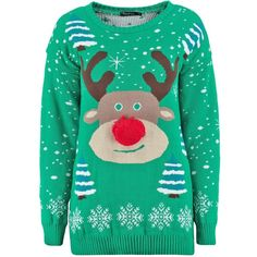 Niamh Pom Pom Reindeer Christmas Jumper (89 UYU) ❤ liked on Polyvore featuring tops, sweaters, green jumper, green top, pom pom sweater, christmas sweater and jumpers sweaters