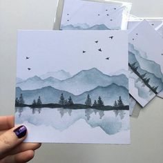 Mountain Range Mountain Painting Watercolor Mountains Blue