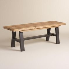 Enjoy alfresco meals gathered on our rustic dining bench. It features an aluminum A frame made to withstand the elements and a distressed acacia wood seat with unique, visible knots in each piece.