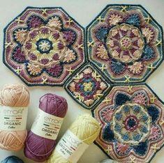 Crochet Mandala Pattern, Crochet Blocks, Granny Square Crochet Pattern, Crochet Stitches Patterns, Crochet Squares, Crochet Designs, Knitting Patterns, Granny Squares, Crochet Granny