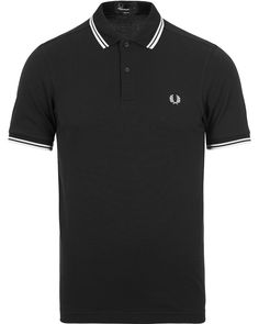 Fred Perry Slim Fit Polo Twin Tip Black i gruppen Pikéer hos Care of Carl (12626511r)