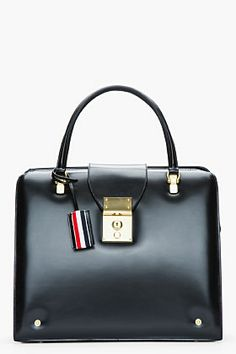 CLASSIC PIECES:: BLACK BAG || Thom Browne Black Leather Mrs. Thom Doctor's Tote for women | SSENSE