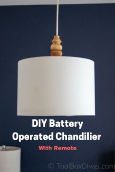 DIY Battery Operated Drum Shade Chandelier with Remote. Cheap and Inexpensive. This is the perfect solution for renters and rooms that are not wired for lighting in the ceiling. It's a battery operated Chandelier that works with a remote with a dimmer and Diy Hanging Shelves, Floating Shelves Diy, Lights In Bedroom, Bedroom Lighting, Battery Operated Chandelier, Battery Lights, Drum Shade Chandelier, Diy Light Fixtures, Mason Jar Lighting
