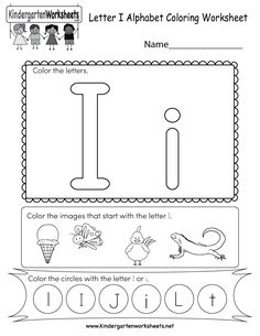 This is a letter I coloring worksheet. Students can color the letters and the images that begin with the letter I. Coloring Worksheets For Kindergarten, Writing Practice Worksheets, English Worksheets For Kids, Kids Math Worksheets, Kindergarten Activities, Letter I Worksheet, Free Printable Alphabet Worksheets, Letter I Activities, Preschool Letters