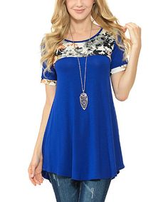 Another great find on #zulily! Royal Floral-Contrast Tunic #zulilyfinds