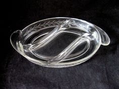 "Fostoria HOLLY CUT - 3 part Glass Oval 10"" Relish Dish SONATA Handles 1940s"