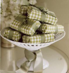 Pedestal bowls and cake stands make a great way to display soaps